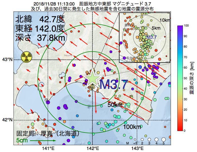 地震震源マップ:2018年11月28日 11時13分 胆振地方中東部でM3.7の地震