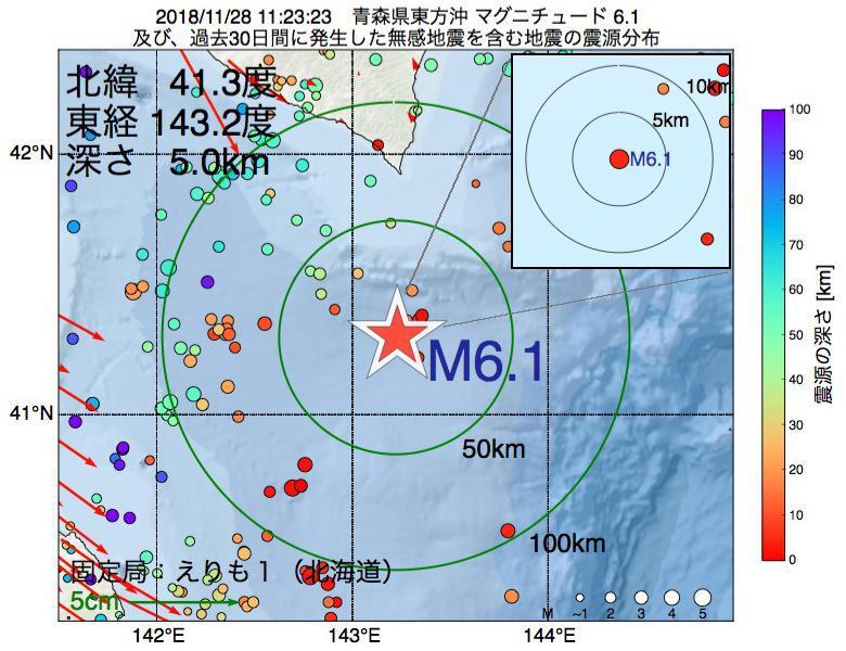 地震震源マップ:2018年11月28日 11時23分 青森県東方沖でM6.1の地震