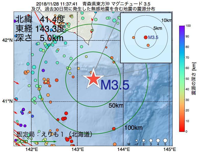地震震源マップ:2018年11月28日 11時37分 青森県東方沖でM3.5の地震