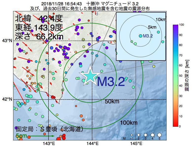 地震震源マップ:2018年11月28日 16時54分 十勝沖でM3.2の地震