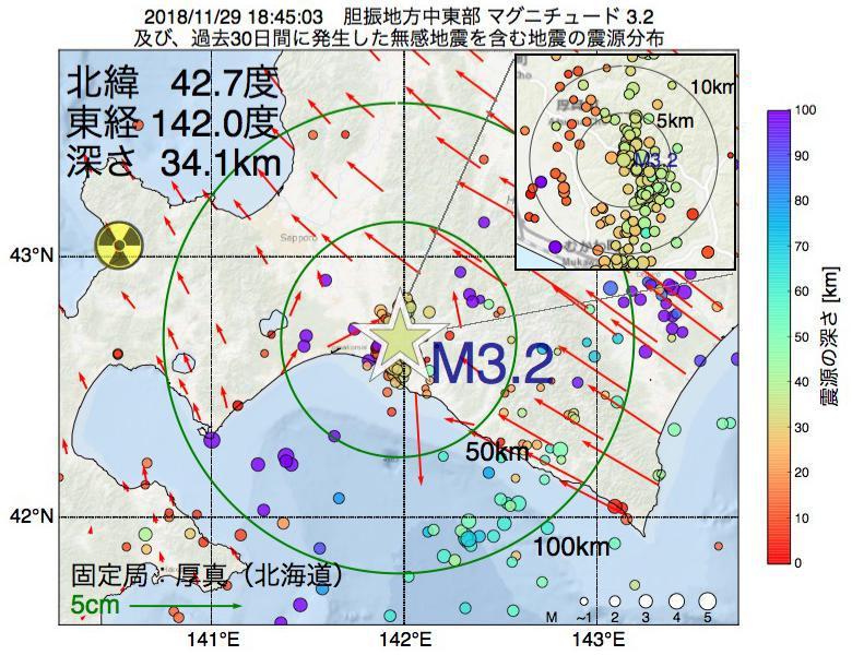 地震震源マップ:2018年11月29日 18時45分 胆振地方中東部でM3.2の地震