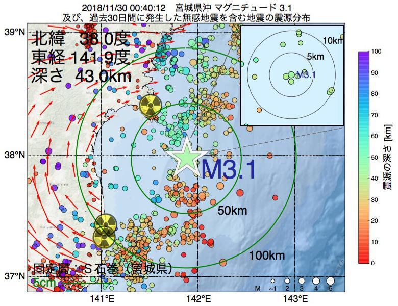 地震震源マップ:2018年11月30日 00時40分 宮城県沖でM3.1の地震