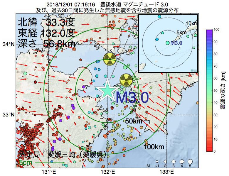 地震震源マップ:2018年12月01日 07時16分 豊後水道でM3.0の地震