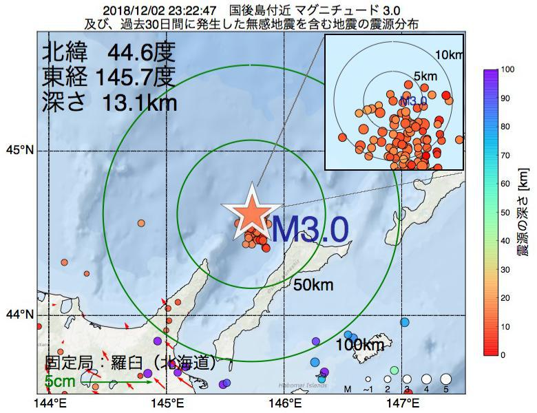 地震震源マップ:2018年12月02日 23時22分 国後島付近でM3.0の地震