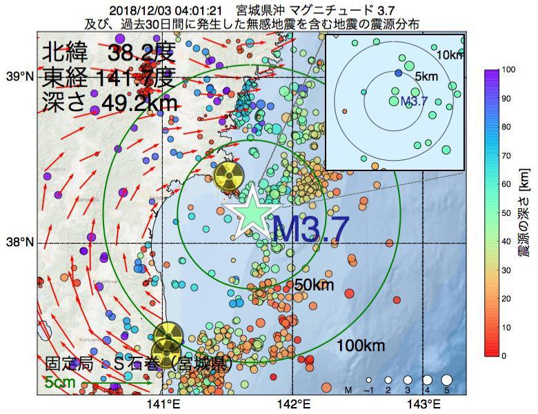 地震震源マップ:2018年12月03日 04時01分 宮城県沖でM3.7の地震