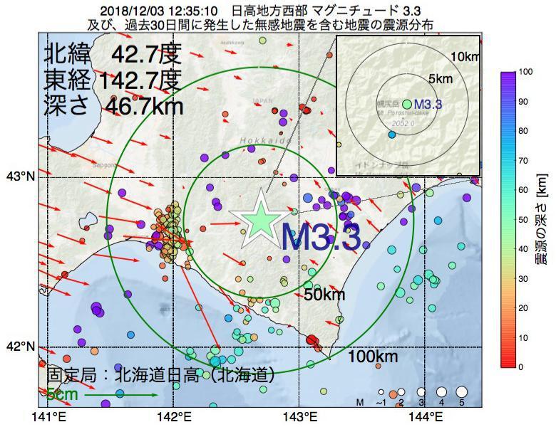 地震震源マップ:2018年12月03日 12時35分 日高地方西部でM3.3の地震