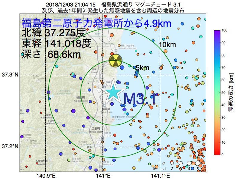 地震震源マップ:福島第二原子力発電所から4.9km地点でM3.1の地震が発生しました