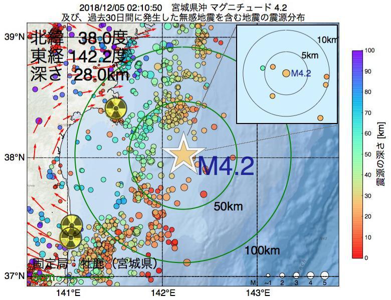 地震震源マップ:2018年12月05日 02時10分 宮城県沖でM4.2の地震