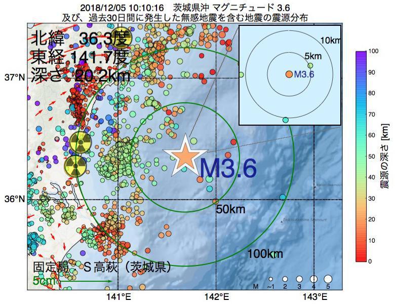 地震震源マップ:2018年12月05日 10時10分 茨城県沖でM3.6の地震
