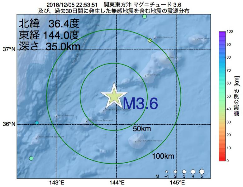 地震震源マップ:2018年12月05日 22時53分 関東東方沖でM3.6の地震