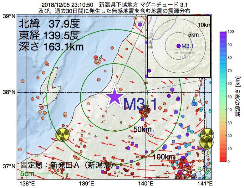 地震震源マップ:2018年12月05日 23時10分 新潟県下越地方でM3.1の地震