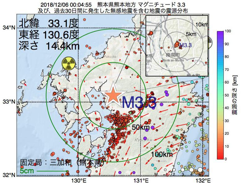 地震震源マップ:2018年12月06日 00時04分 熊本県熊本地方でM3.3の地震