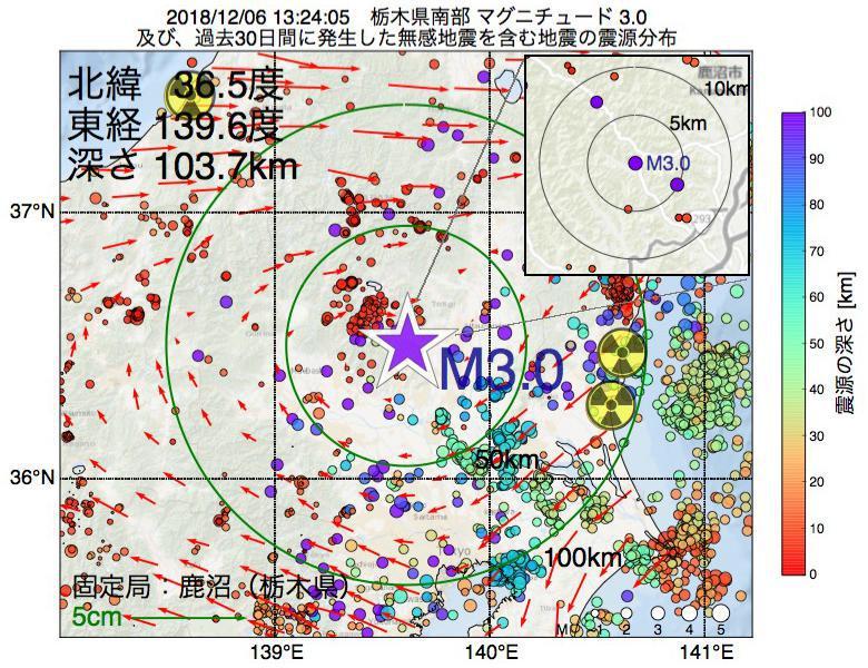 地震震源マップ:2018年12月06日 13時24分 栃木県南部でM3.0の地震