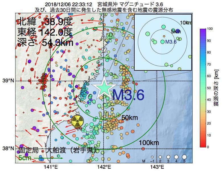 地震震源マップ:2018年12月06日 22時33分 宮城県沖でM3.6の地震