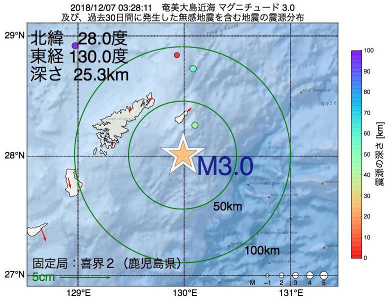 地震震源マップ:2018年12月07日 03時28分 奄美大島近海でM3.0の地震