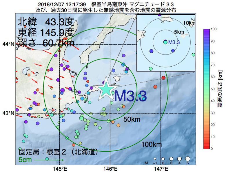 地震震源マップ:2018年12月07日 12時17分 根室半島南東沖でM3.3の地震