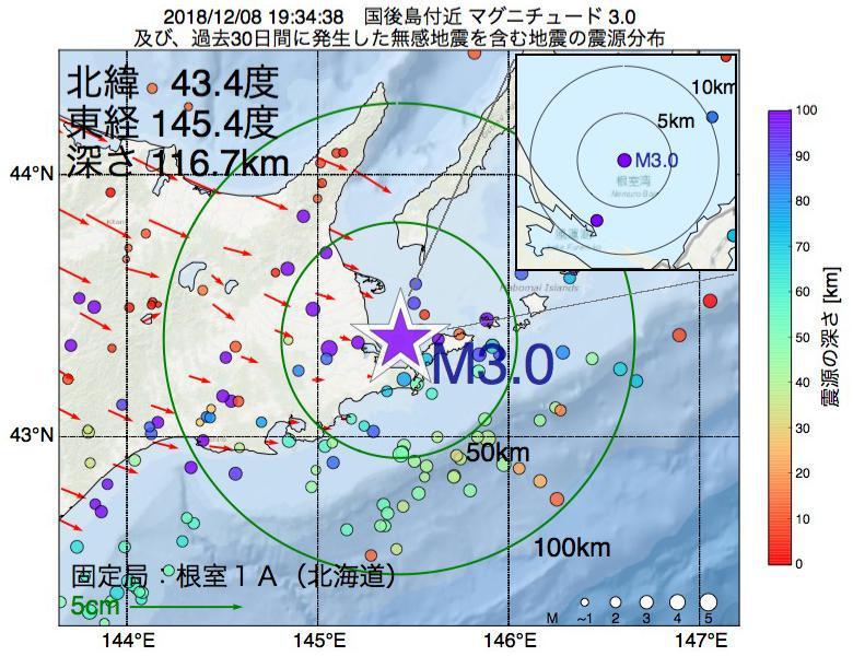 地震震源マップ:2018年12月08日 19時34分 国後島付近でM3.0の地震