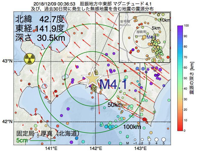 地震震源マップ:2018年12月09日 00時36分 胆振地方中東部でM4.1の地震