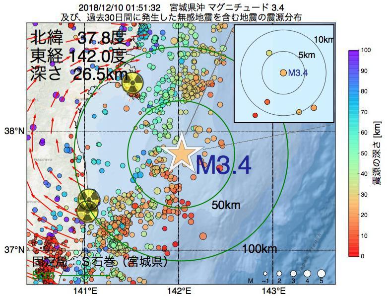 地震震源マップ:2018年12月10日 01時51分 宮城県沖でM3.4の地震