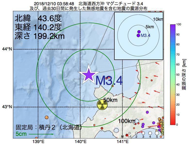 地震震源マップ:2018年12月10日 03時58分 北海道西方沖でM3.4の地震