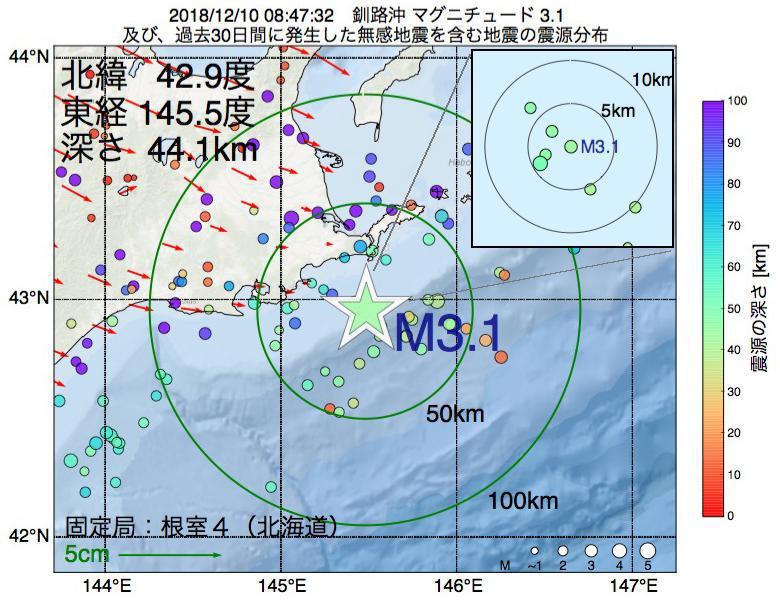 地震震源マップ:2018年12月10日 08時47分 釧路沖でM3.1の地震