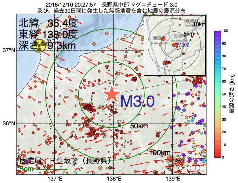 地震震源マップ:2018年12月10日 20時27分 長野県中部でM3.0の地震