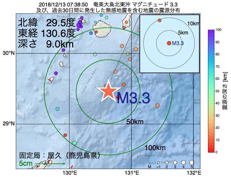 地震震源マップ:2018年12月13日 07時38分 奄美大島北東沖でM3.3の地震
