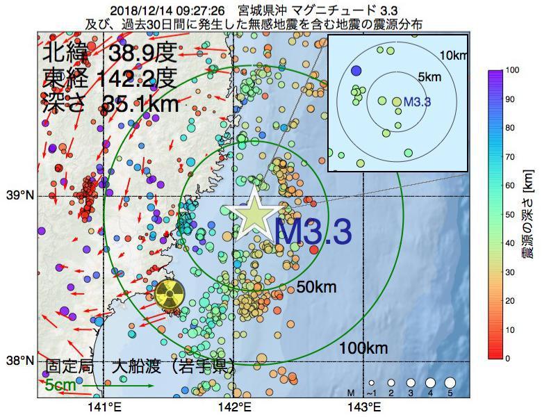 地震震源マップ:2018年12月14日 09時27分 宮城県沖でM3.3の地震