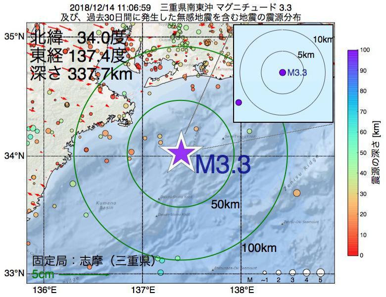 地震震源マップ:2018年12月14日 11時06分 三重県南東沖でM3.3の地震