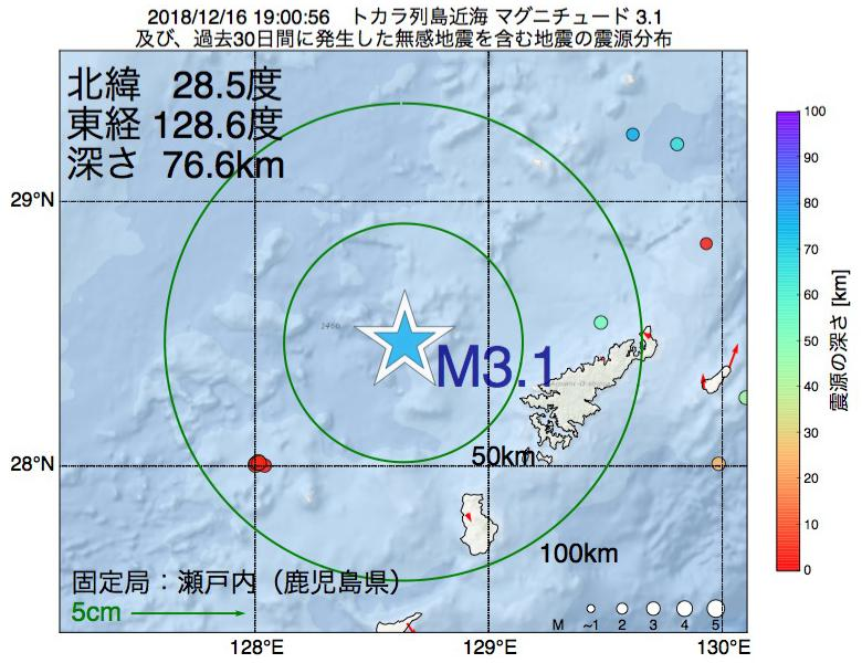 地震震源マップ:2018年12月16日 19時00分 トカラ列島近海でM3.1の地震