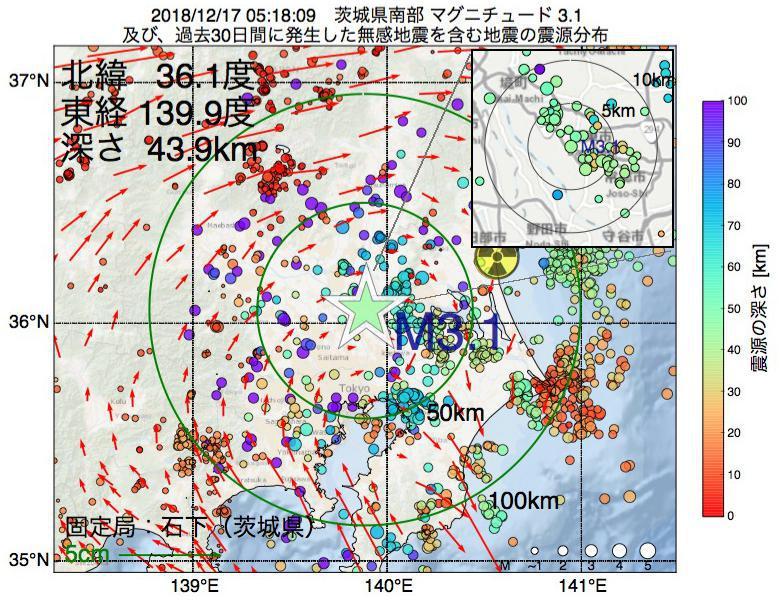 地震震源マップ:2018年12月17日 05時18分 茨城県南部でM3.1の地震