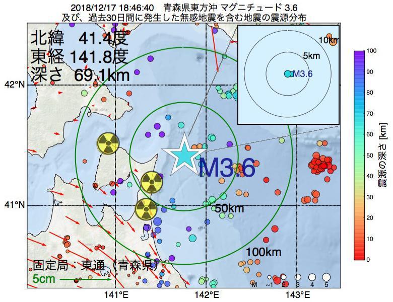 地震震源マップ:2018年12月17日 18時46分 青森県東方沖でM3.6の地震