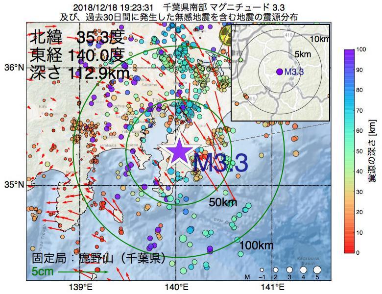 地震震源マップ:2018年12月18日 19時23分 千葉県南部でM3.3の地震