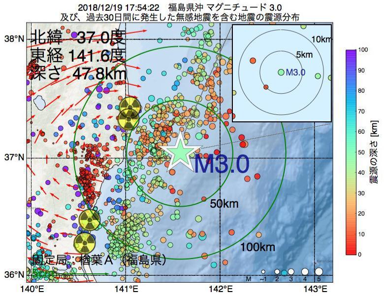 地震震源マップ:2018年12月19日 17時54分 福島県沖でM3.0の地震