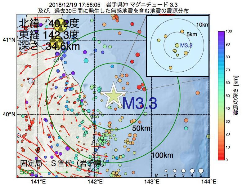 地震震源マップ:2018年12月19日 17時56分 岩手県沖でM3.3の地震