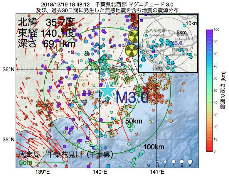 地震震源マップ:2018年12月19日 18時48分 千葉県北西部でM3.0の地震