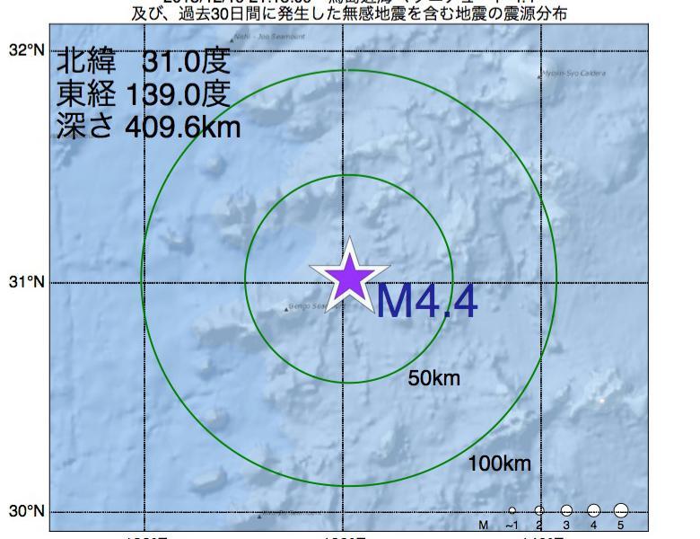 地震震源マップ:2018年12月19日 21時15分 鳥島近海でM4.4の地震