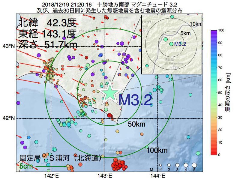 地震震源マップ:2018年12月19日 21時20分 十勝地方南部でM3.2の地震