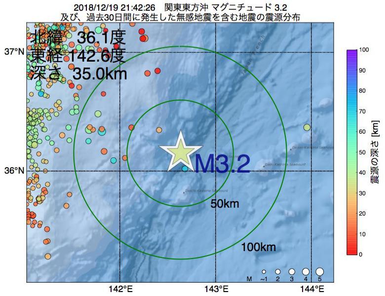 地震震源マップ:2018年12月19日 21時42分 関東東方沖でM3.2の地震