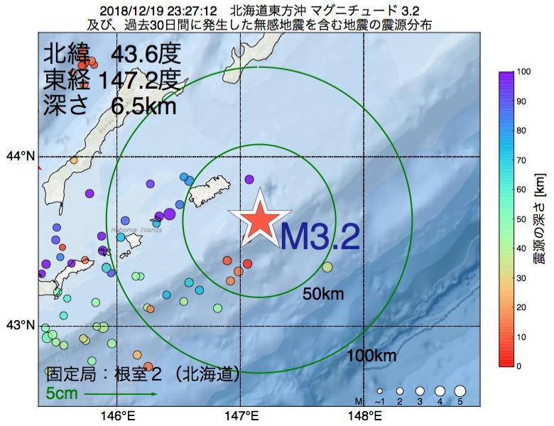 地震震源マップ:2018年12月19日 23時27分 北海道東方沖でM3.2の地震