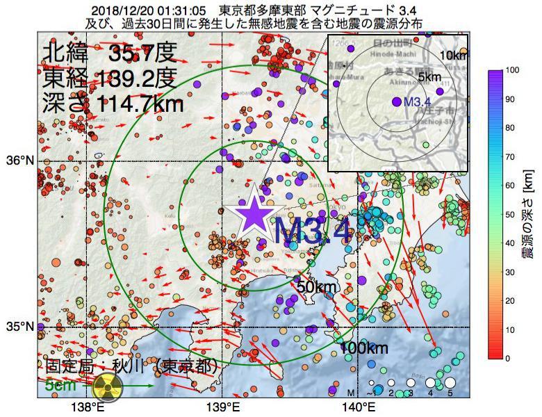 地震震源マップ:2018年12月20日 01時31分 東京都多摩東部でM3.4の地震