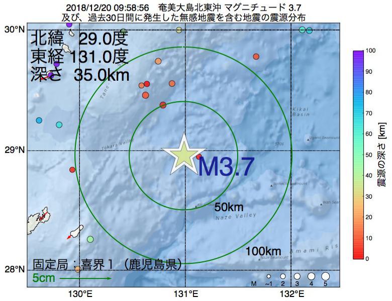 地震震源マップ:2018年12月20日 09時58分 奄美大島北東沖でM3.7の地震