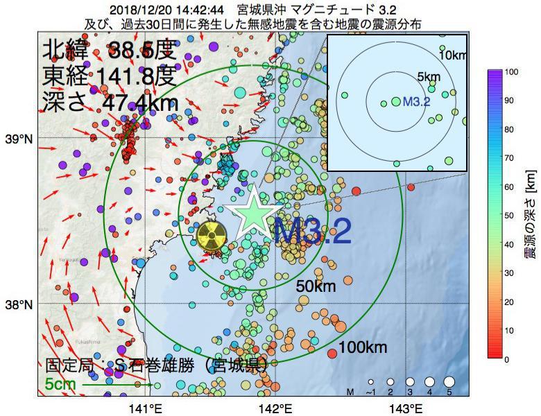 地震震源マップ:2018年12月20日 14時42分 宮城県沖でM3.2の地震