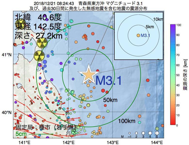 地震震源マップ:2018年12月21日 08時24分 青森県東方沖でM3.1の地震