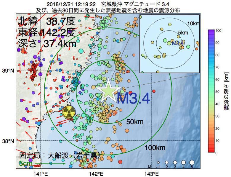 地震震源マップ:2018年12月21日 12時19分 宮城県沖でM3.4の地震