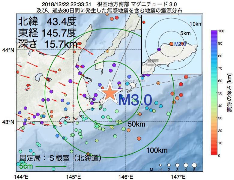 地震震源マップ:2018年12月22日 22時33分 根室地方南部でM3.0の地震