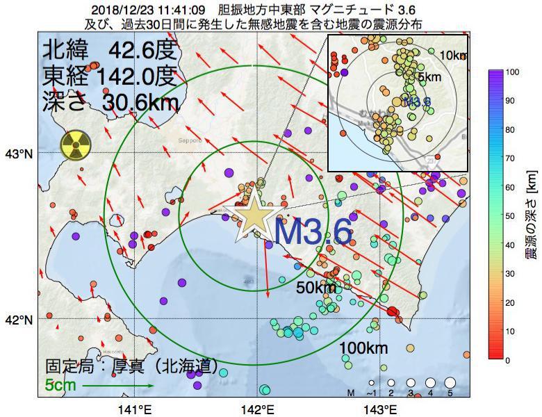 地震震源マップ:2018年12月23日 11時41分 胆振地方中東部でM3.6の地震