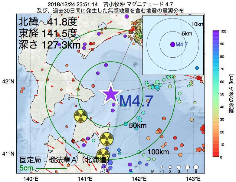 地震震源マップ:2018年12月24日 23時51分 苫小牧沖でM4.7の地震