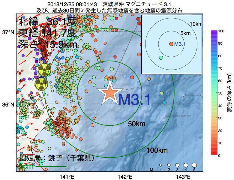 地震震源マップ:2018年12月25日 08時01分 茨城県沖でM3.1の地震