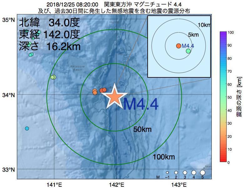 地震震源マップ:2018年12月25日 08時20分 関東東方沖でM4.4の地震